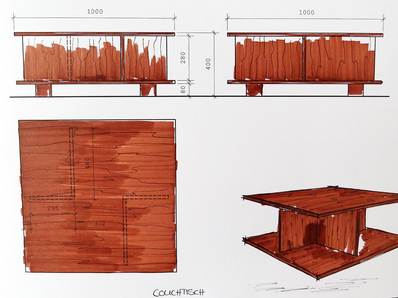 Couchtisch Aus Nussbaum 11treedesigns Schreinerei Interior Design