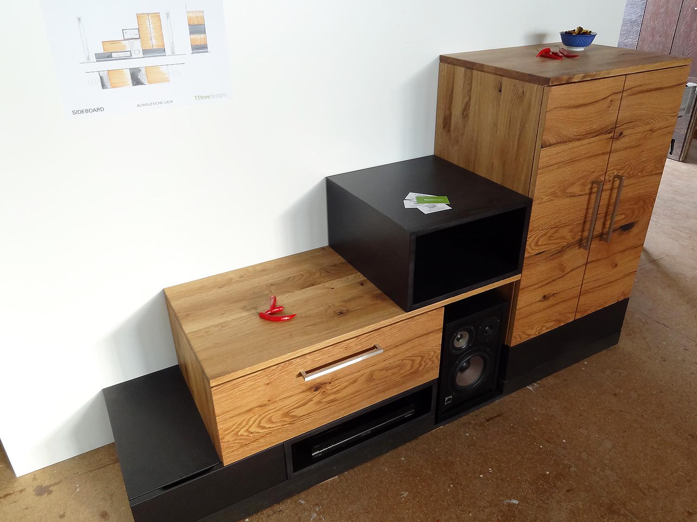 hifi m bel eiche 11treedesigns schreinerei interior. Black Bedroom Furniture Sets. Home Design Ideas